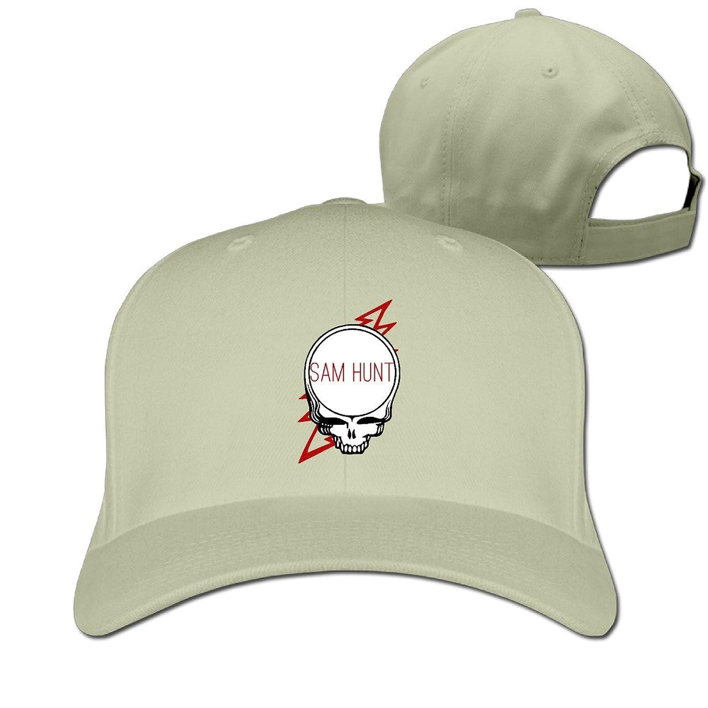 GXGML Sam Skeleton Hunt Unisex Fashion Adjustable Pure 100% Cotton Peaked Cap Sports Washed Baseball Hunting Cap Cricket Cap Natural