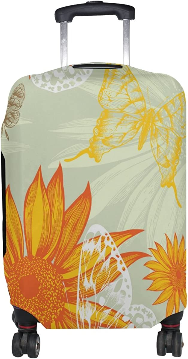 LAVOVO Sunflowers And Butterflies Hand Draw Luggage Cover Suitcase Protector Carry On Covers