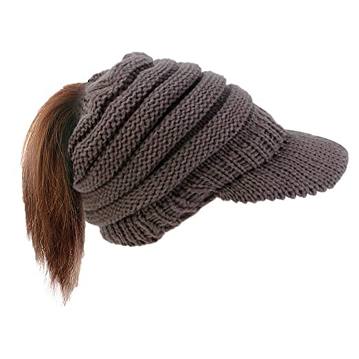 e134d6cf7b7cce BUUFAN Women Winter Ponytail Visor Brim Messy Bun BeanieTail Stretchy Knit  Beanie Sun Wram Hat(Pure Dark Gray) at Amazon Women's Clothing store: