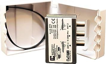 alb EFFE – Mezclador Universal para 2 Antenas de Banda Ancha en Versión de Poste – atenuación de Paso < 4dB