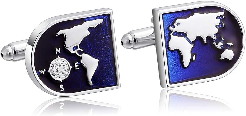 Beydodo Gemelos Camisas Mapa del Mundo con Brújula Gemelos Camisa de Acero Inoxidable Hombre Azul: Amazon.es: Joyería