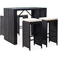 vidaXL Outdoor Bar Set 5 Pieces with Cushions Garden Patio Backyard Porch Balcony Furniture Table and Stool Poly Rattan…