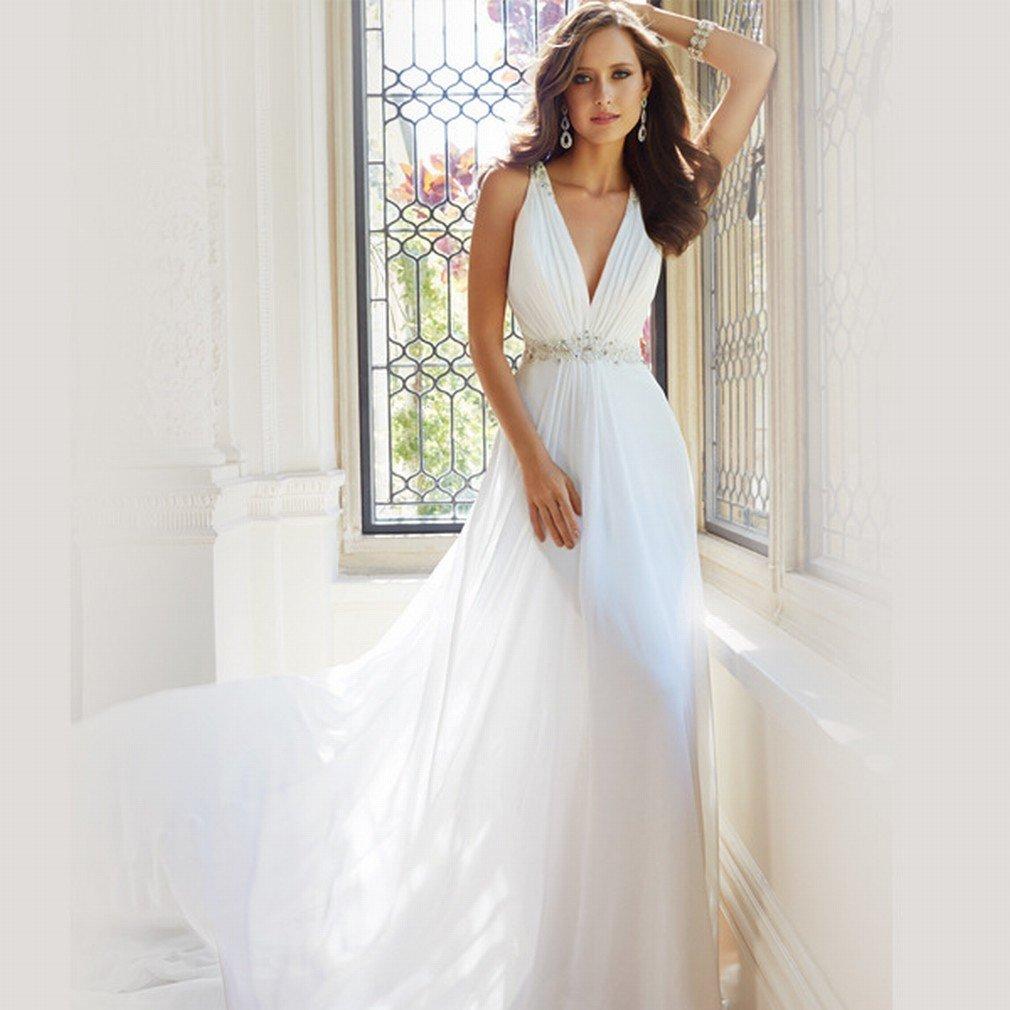 XC Vestido de Novia Vestido de Novia V Profundo Vestido de Novia de Cuello Peque?o Vestido de Boda Vestido de Novia,UN,XS: Amazon.es: Hogar
