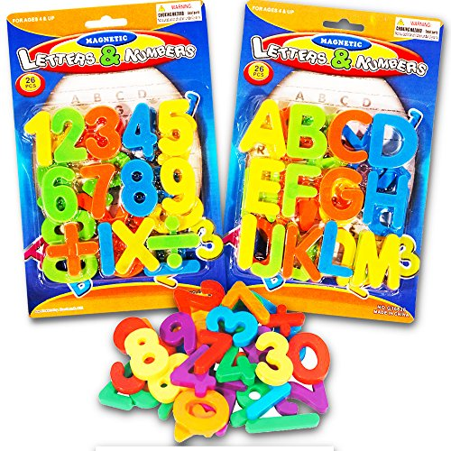 (2 Pack) Magnetic Learning Letters and Numbers, Total 52 Piece Set