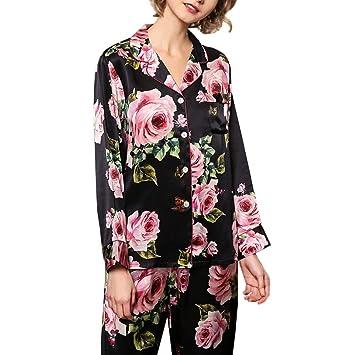 HUIFANG Pijamas para Mujer Conjunto De Solapa Negro Flores Pijamas Sexy 100% Tela De Seda