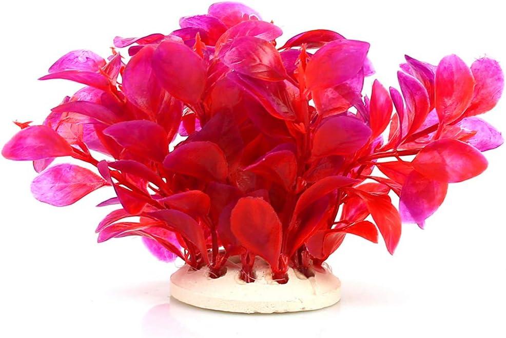 NaiCasy Red Leaf Falsas Plantas de Acuario Artificial Plantas de Acuario decoración para el hogar, Peces Mascota