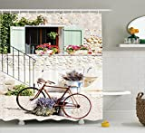 Ambesonne Bicycle Shower Curtain, European French Mediterranean Rural Stone House with Bike Countryside Provence Day Photo, Fabric Bathroom Decor Set with Hooks, 75 Inches Long, Multi