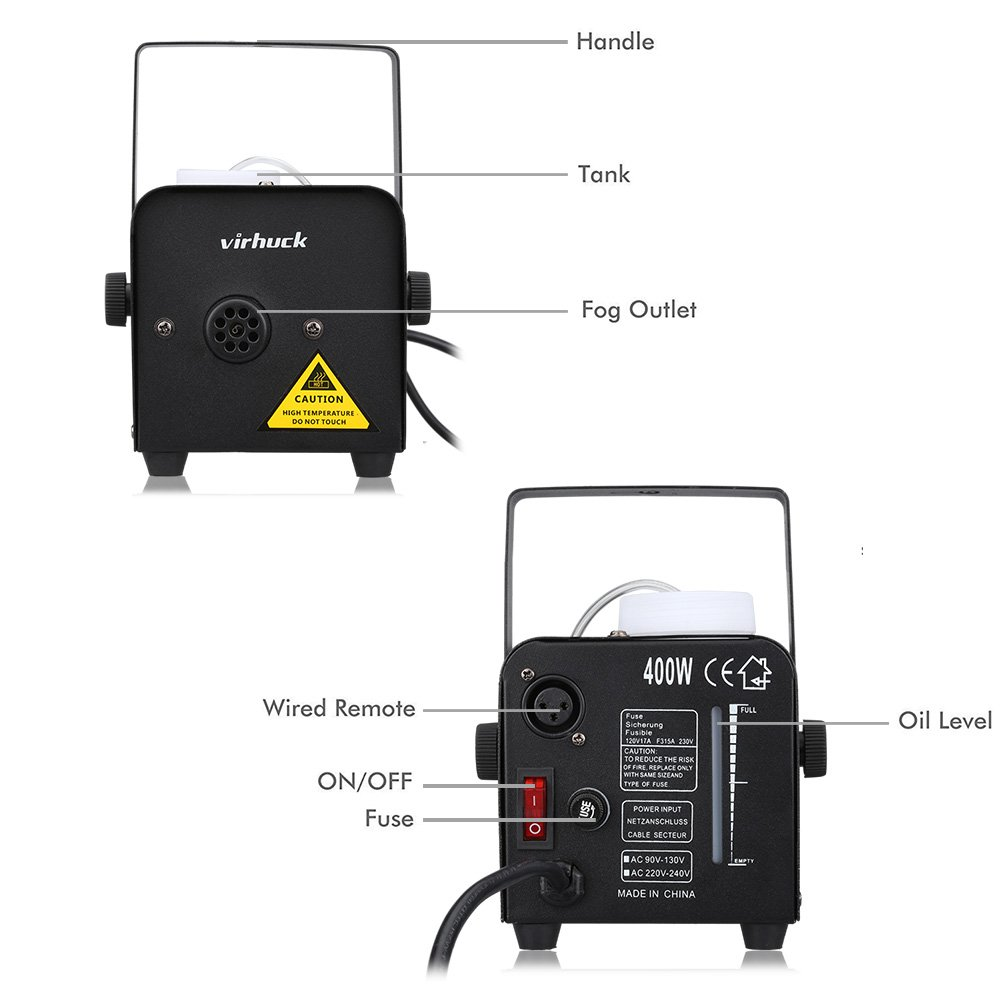 Amazon.com: Virhuck 400-Watt Portable Fog Machine with Wireless Remote  Control, Smoke Machines for Parties Halloween Weddings Christmas Parties  Dance or ...