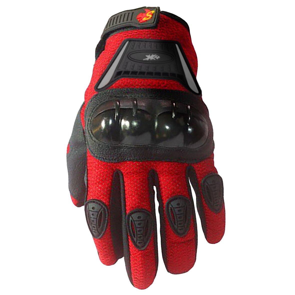 Street Bike Full Finger Motorcycle Gloves 09 (Med, Red)