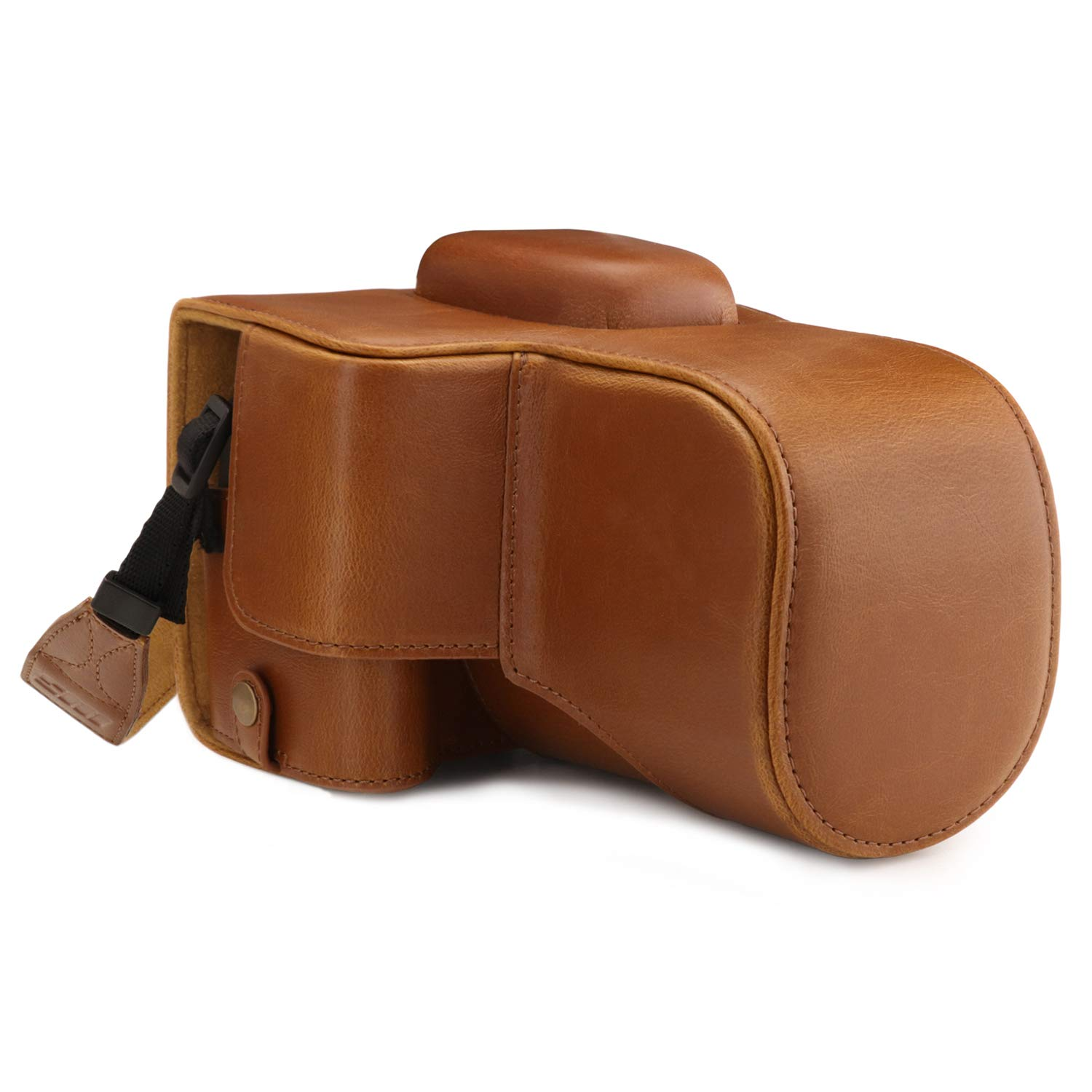MegaGear MG1609 Ever Ready Leather Camera Case compatible with Canon EOS Rebel T7 (18-55mm), 2000D (18-55mm) - Light Brown by MegaGear