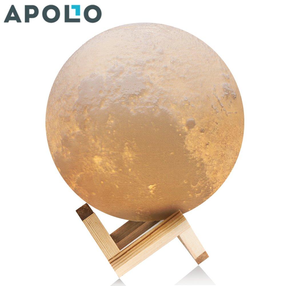 アポロボックス3dプリントムーンランプ調光機能付きタッチセンサー/リモートコントロール充電式LEDナイトライト、赤ちゃんライトwith Base 4.7 Inch AP4.7inchXBD B078S1639W 4.7in Moon Light With Wood Base