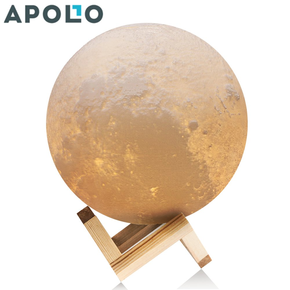 Apollo Box 4.7 Inch 3D Printing Moon Lamp, Smart Touch Control Rechargeable LED Moon Night Light with Multi-Colors for Bedrooms, Best Desk Lamp for Kids Babies & Lovers, with Wood Base