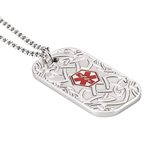 BBX JEWELRY Medical ID Alert Necklaces for Men Stainless Steel Pendant Free  Engraving with 22