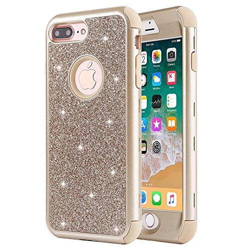 iPhone 8 Plus Case, iPhone 7 Plus Case, Anuck Heavy Duty iPhone 7 Plus Shockproof Protective Case [Sparkly Glitter Texture] Hybrid Armor Defender Cover Case for iPhone 7 Plus/8 Plus 5.5 - Gold