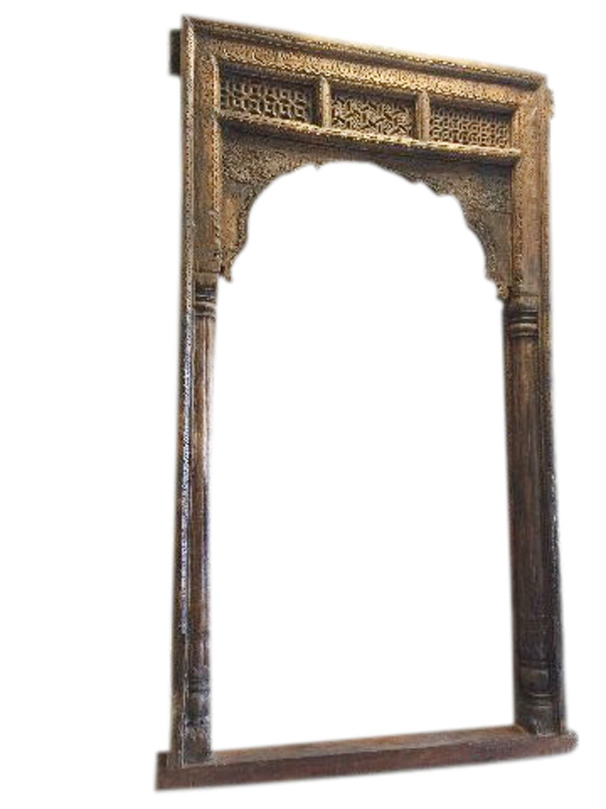 Antique Arch sHEKHWATI Teak Welcome Gate Headboard Hand Carved Vintage OLd World Architectural Design by Mogul Interior