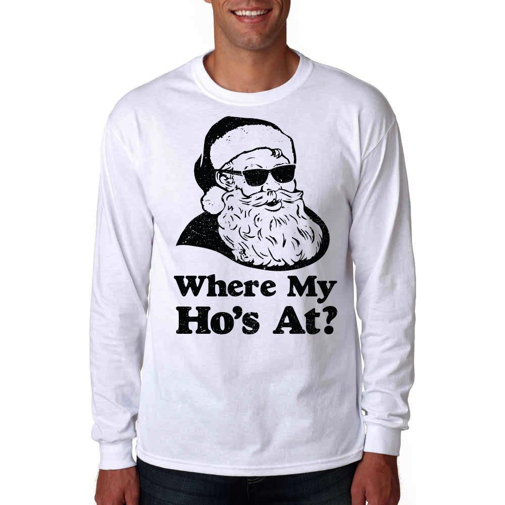 Amazon.com: Long Sleeve Where My Ho\'s at Shirt - Ugly Christmas ...