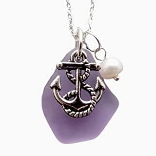 """product image for Handmade in Hawaii,""""Magical Color Changing"""" purple sea glass necklace,Freshwater pearl, Anchor charm,""""February Birthstone"""", (Hawaii Gift Wrapped"""