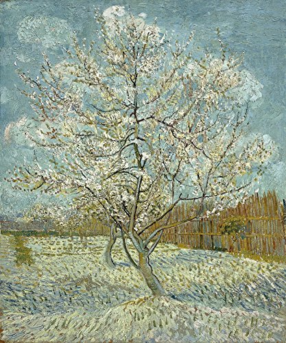 Wieco Art The Pink Peach Tree Canvas Prints Wall Art by Van Gogh Classic Famous Oil Paintings Reproduction Modern Gallery Wrapped Landscapes Giclee Picture Artwork for Bedroom Bathroom Home Decoration (Landscape Oil Classic Painting)
