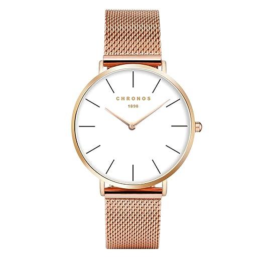 Relojes Mujer Reloj de Cuarzo Relojes Hermosas Correa de Aleación Relojes de la Mujer Hombre niña,Oro rosa: Amazon.es: Relojes