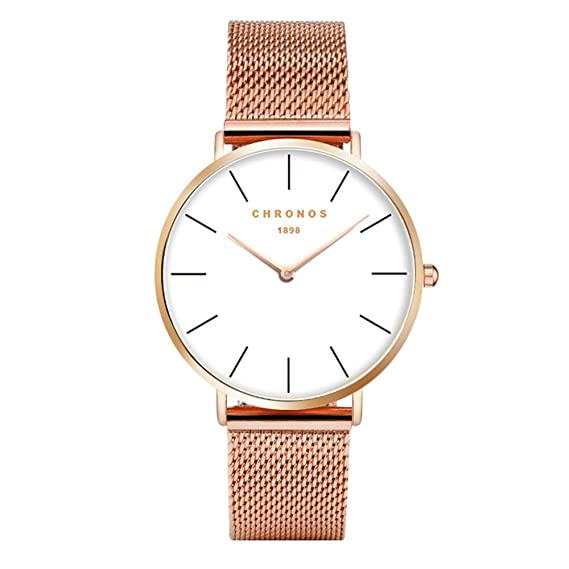 Simple Women Men Quartz Watch Alloy Strap Ladies Girls Gentlemen WristWatch, Rose Gold