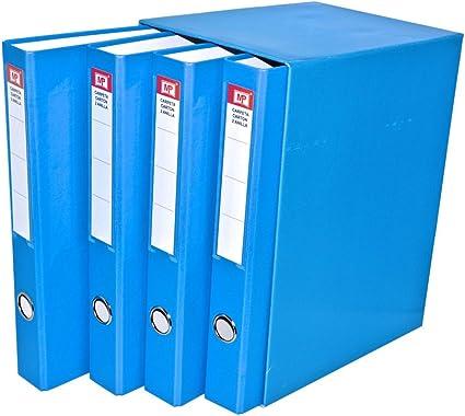 MP PC170-01 - Pack de 4 archivadores, color azul claro: Amazon.es ...