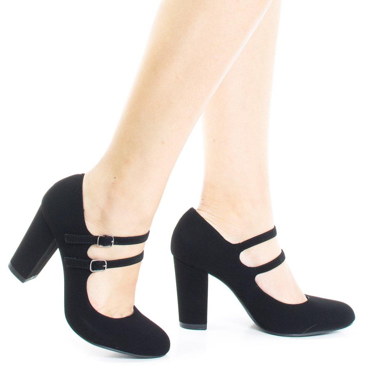 City Classified Comfort Padded Insole Double Buckle Mary Jane Dress Pump, Chunky Block Heel,10 B(M) US,Black