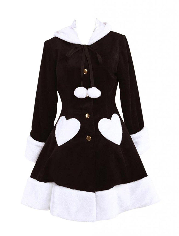 Cemavin Womens Sweet Black Wool Long Sleeves Girls Lolita Overcoat