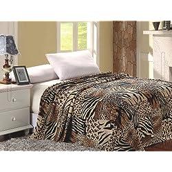 Elegant Comfort Ultra Super Soft Fleece Plush Luxury BLANKET All Sizes Full/Queen Safari