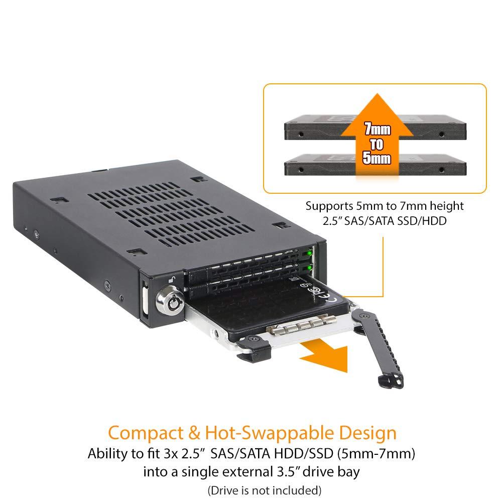 """Icy Dock ToughArmor MB993SK-B - Rack extraíble 3x2,5"""" SAS/SATA HDD ..."""