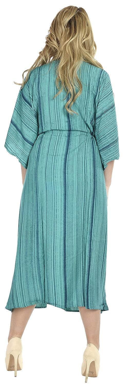 LA LEELA Mujeres Caftán Rayón túnica Tie Dye Kimono Libre tamaño Largo Maxi Vestido de Fiesta para Loungewear Vacaciones Ropa de Dormir Playa Todos los días ...