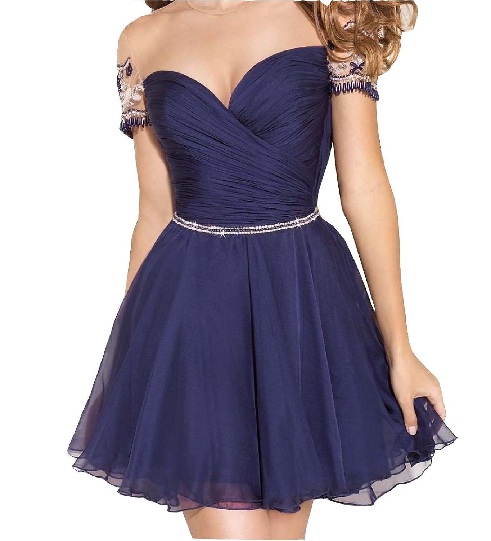 Irenwedding Women's Jewel Ruched Beading Empire Lace Back Short Homecoming Dress