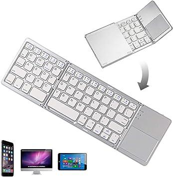 Teclado Bluetooth plegable portátil inalámbrico para iPhone, iPad Air, iPad Mini, iPad Pro, Windows, iOS, Android (color blanco plata)