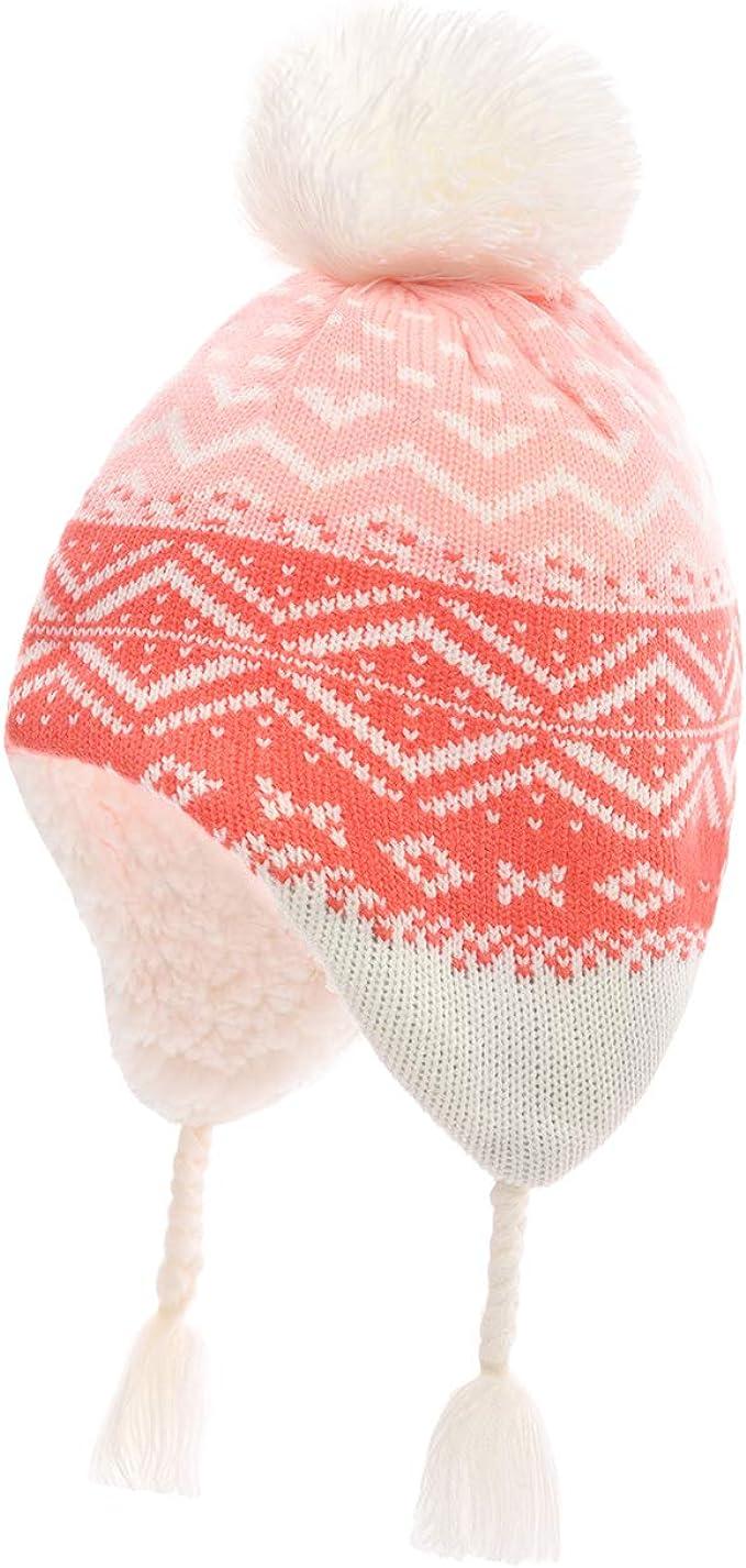 Magracy Toddler Earflap Beanie Hat Kids Girls Winter Fleece Lining Knit Hat