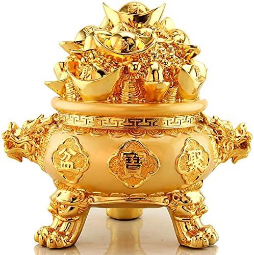 BOYULL Feng Shui Golden Ingot Yuan Bao Treasure Basin Wealth Porsperity Figurine, Best Housewarming Congratulatory Gift,Feng Shui D cor