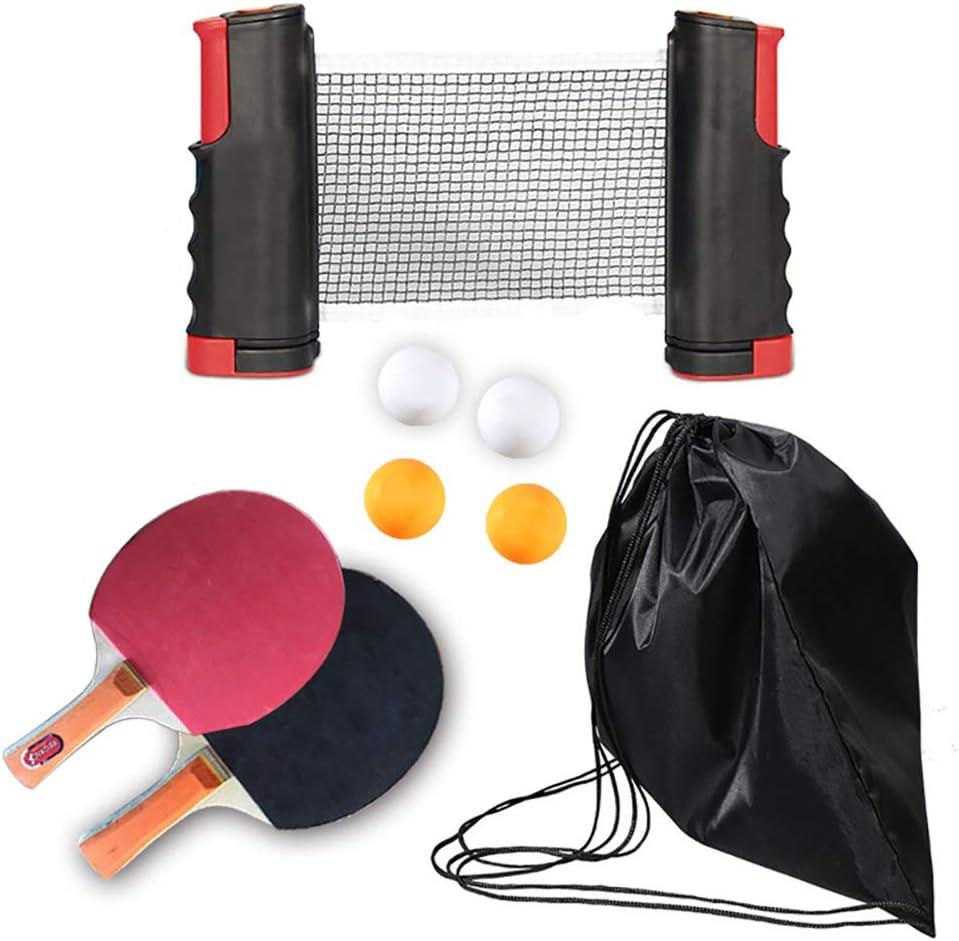 HEREB - Juego de ping-pong, juego de palas de tenis de mesa portátil, 2 raquetas Pro Premium, 4 pelotas, 1 red de tenis de mesa para jugar en interiores o al aire libre