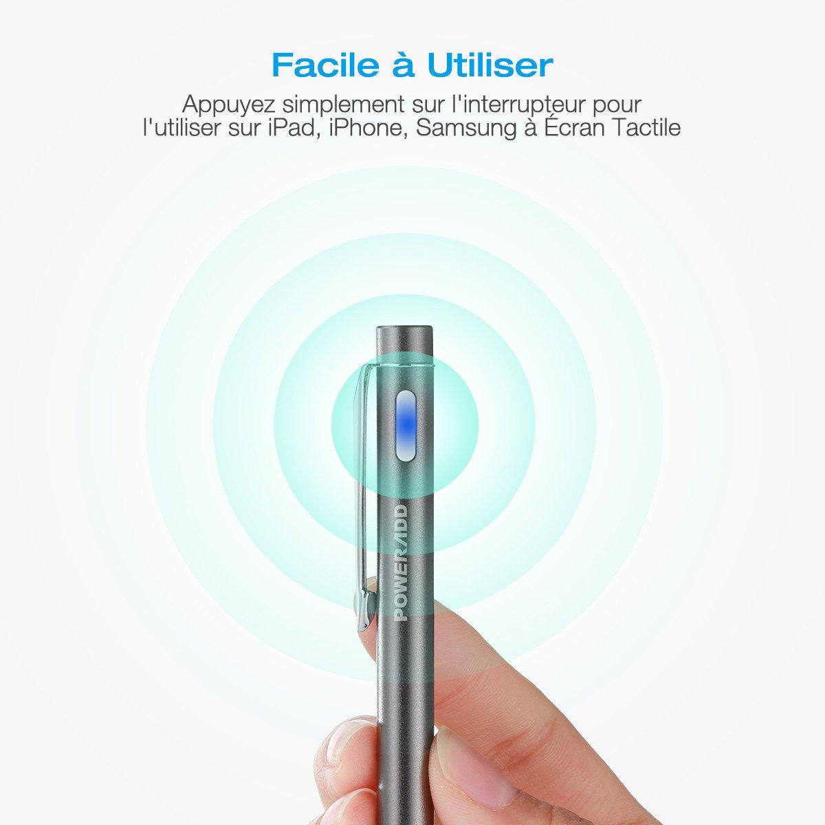Poweradd Stylus Stylet Rechargeable compatible avec les appareils tactiles capacitifs (y compris tous les téléphones et tablettes Apple et Android)-Gris Foncé
