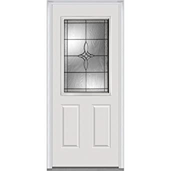 Attrayant National Door Company ZA21395L 1/2 Lite 2 Panel Lenora Decorative Glass  Fiberglass Smooth