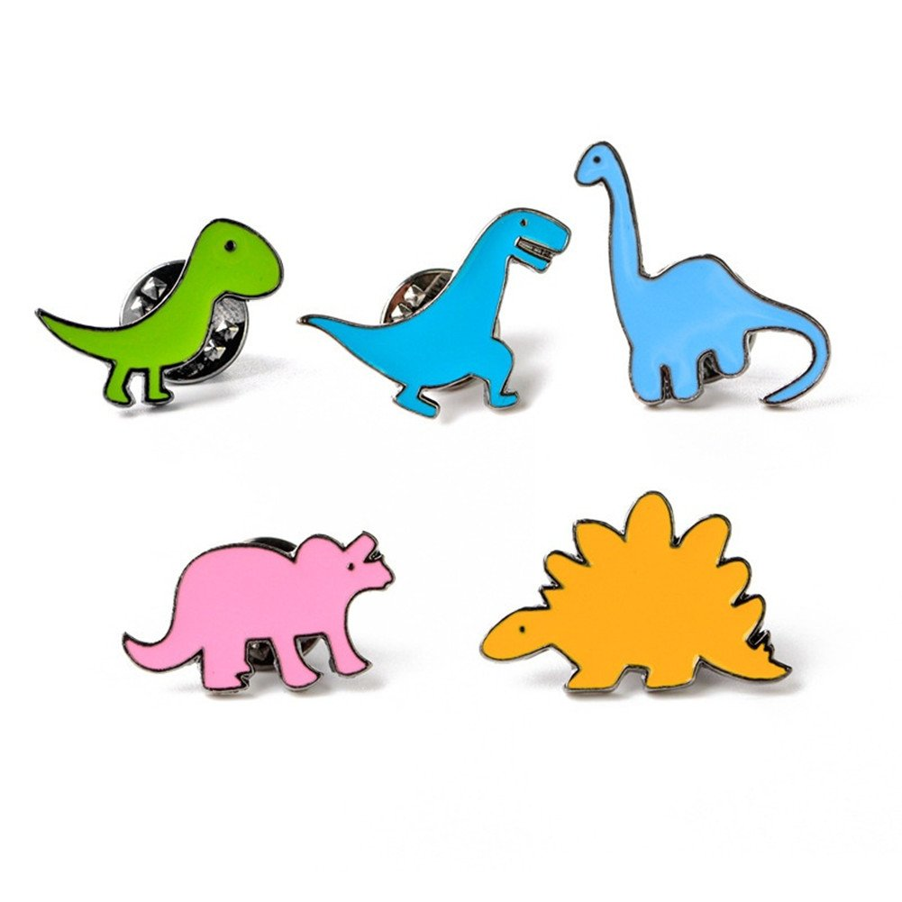 Oyfel 5PCS Alloy Enamel Brooch Pin Badges Cute Cartoon Dinosaur Series Brooch Set Suit Shirt Sweater Pin for Children Toy J19PML7TB8M45PRW08DN75SWH