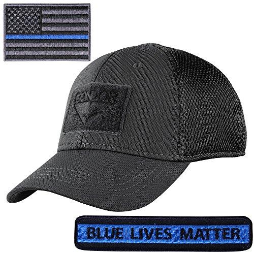 Condor Flex Fit Mesh Cap With Thin Blue Line & Blue Lives Matter Two Morale Patch Bundle (Large/XLarge [7 3/8