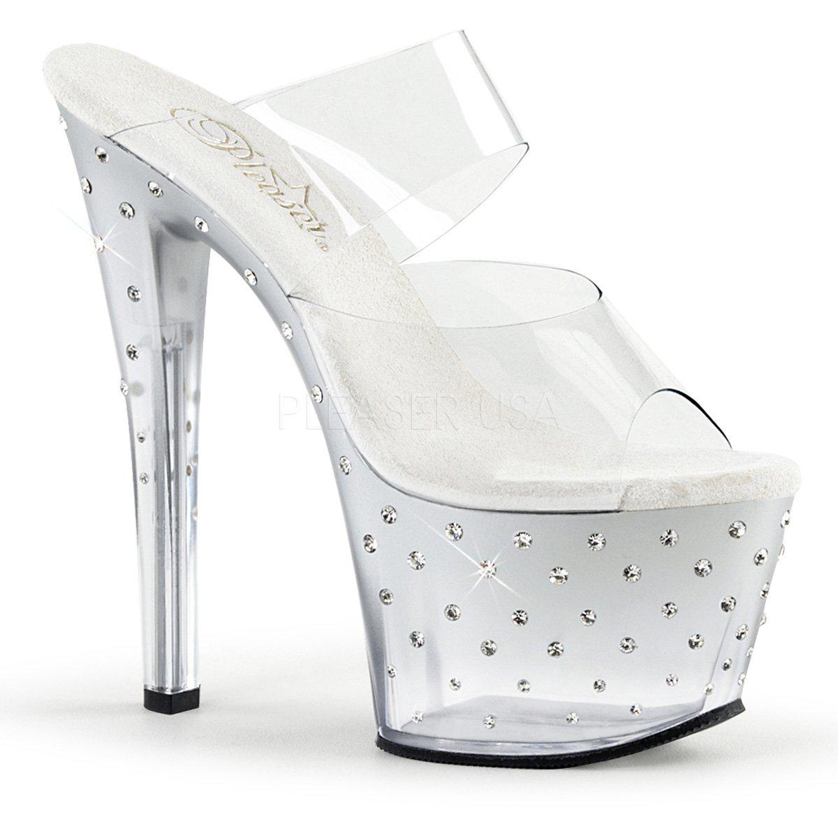 Pleaser Women's Stdus702t/c/s-c Platform Sandal B06Y1JN93X 10 B(M) US|Clr/Slv-clr
