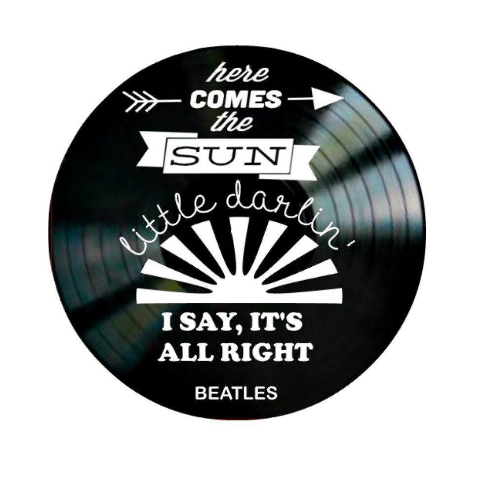 Beatles Here Comes the Sun song Lyrics on a Vinyl Record Album Wall Art