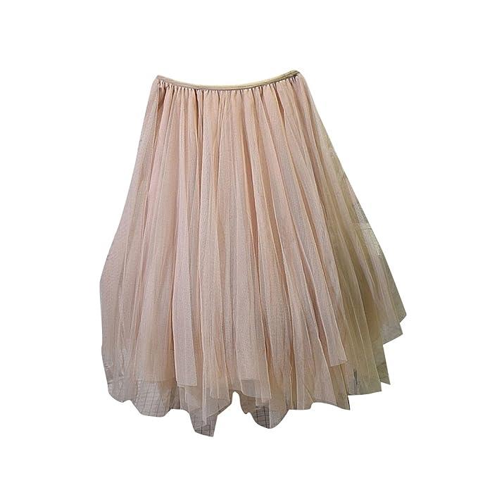 MISSMAOM Mujeres Enagua Falda Corta Midi Tul Damas Cintura Elástica Asimetricas Tutu Falda para Fiesta Danza Beige: Amazon.es: Ropa y accesorios