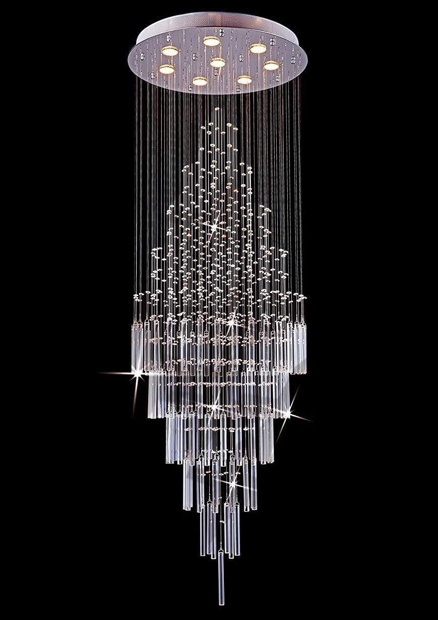 Saint Mossi Modern K9 Crystal Raindrop Chandelier Lighting Flush Mount LED Ceiling Light Fixture Pendant Lamp for Dining Room Bathroom Bedroom Livingroom 8 x GU10 Bulbs Required H69 X D23