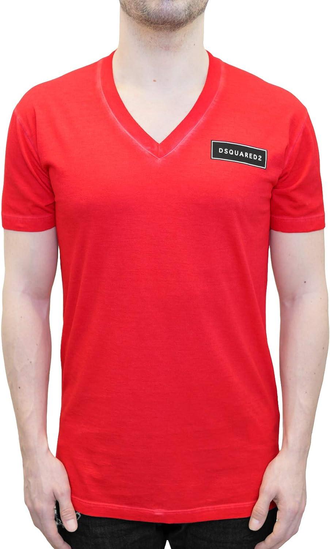 DSquared - Camiseta - para Hombre Rojo Rosso Large: Amazon.es: Ropa y accesorios