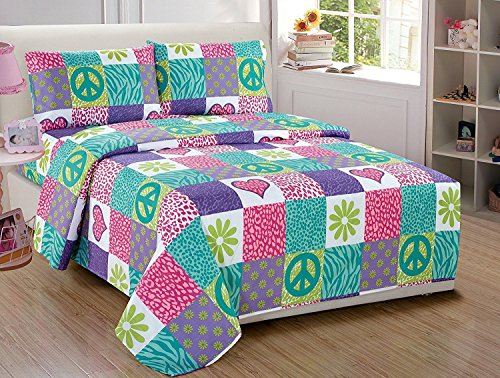 Linen Plus Twin Size 2pc Bedspread Set for Girls Safari Zebra Leopard Print Flowers Peace Signs Turquoise Pink Green White Purple New