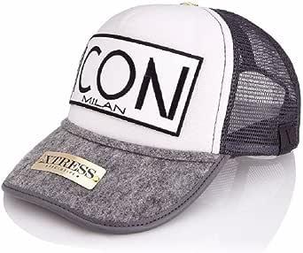 Gorra blanca y gris con logo ICON. Unisex: Amazon.es: Ropa y ...