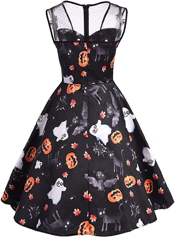 Mirray Damen Halloween Mesh Patchwork Gedruckt Vintage Kleid Sleeveless Party Kleid Amazon De Bekleidung