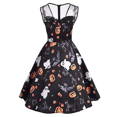 Yvelands Vestidos para Mujer Moda Halloween Imprimir Long Sleevel Daily Paty Dress ¡Caliente!: Amazon.es: Ropa y accesorios