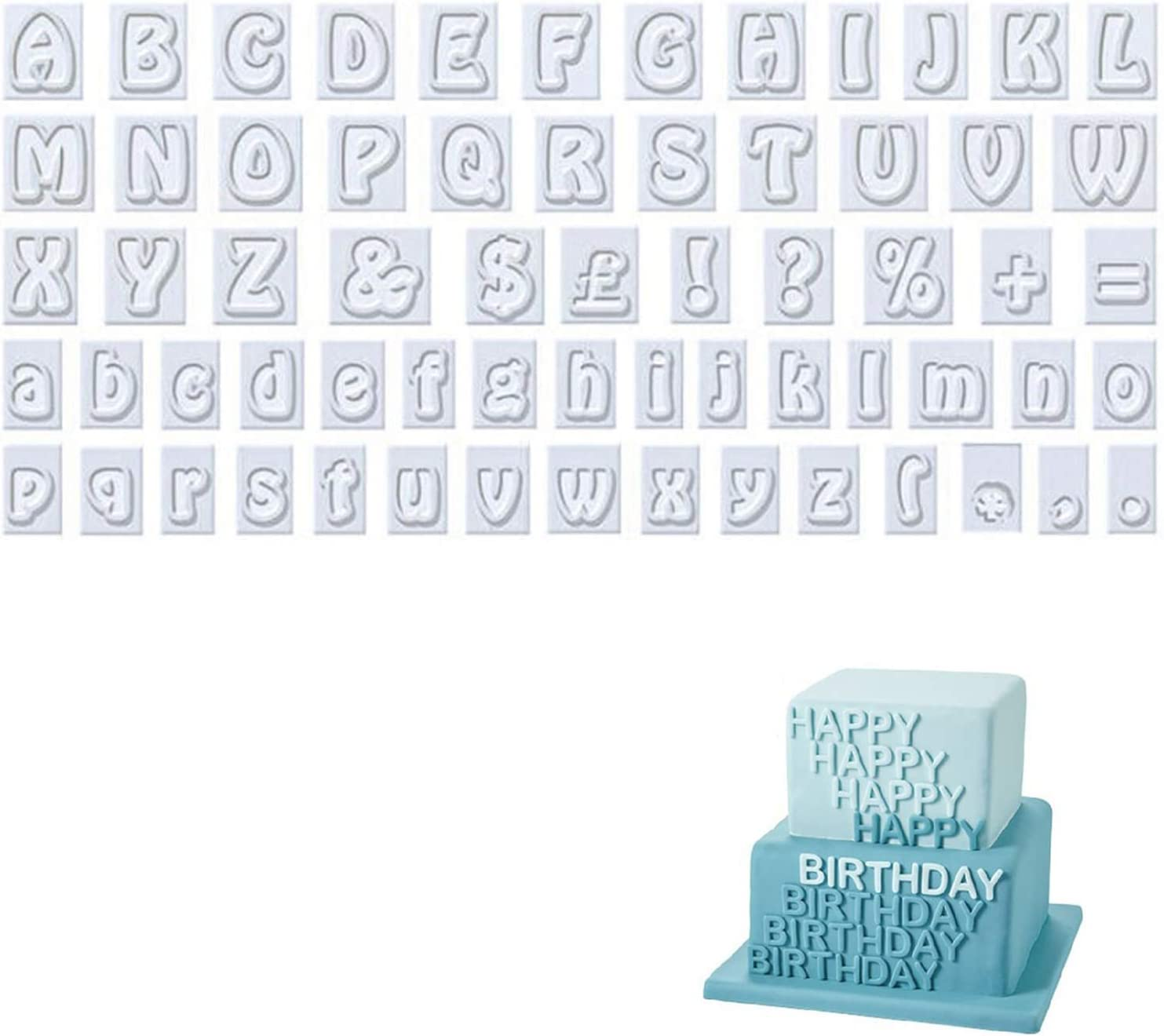 YASUOA 64 Pieces Alphabet Cookie Cutter Set Plastic Mini Fondant Cutters Mold Upper and Lower Case Characters Art Deco Number Letter Stamps for Cake Decorating Bakers Parties Baking Home DIY Birthday