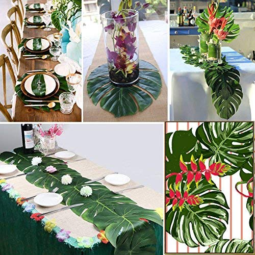 20 Pieces Tropical Palm Leaves Gift 5 Pieces Hook Loop MerryNine Hawaiian Party Decorations Set Including 9ft Table Skirt